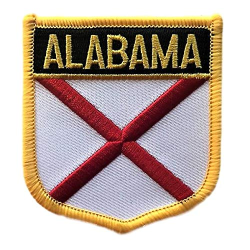 Alabama Flag Badge Patch/U.S. State Shield Embroidered Iron-On/Sew-On Patch Collection (AL Crest, 3.00