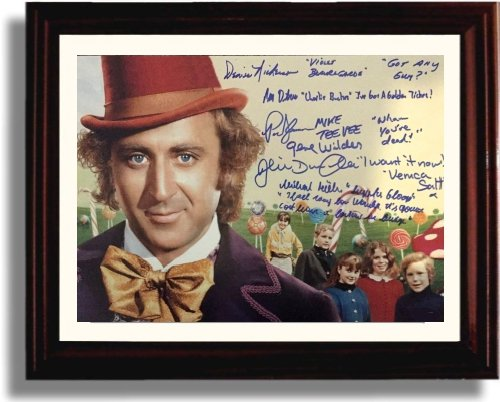 Framed Cast of Willy Wonka Autograph Replica Print - Willy Wonka and The Chocolate Factory