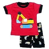 "Image of [Baby House] ""Excavator "" Boys Short 2 Piece Pajama 100% Cotton G6148T3"