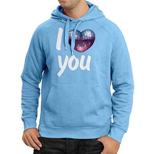 Hoodie I Love You - Disco Ball Heart Retro 80s Clothing, Music Shirt, Valentine Gifts (Large Blue Multi Color)