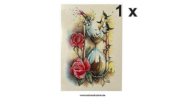 Reloj De Arena + Pájaros + Rose Cuerpo - Adhesivo Pegatina XL temporäres Tattoo hb509, carbón, 1 x Sanduhr Tattoo HB509: Amazon.es: Hogar