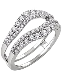 14k White Gold Plated 1ct Real Simulated Diamonds Solitaire Ring Guard Wrap Enhancer