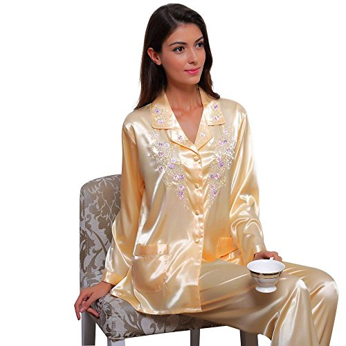 Womens Silk Satin Pajamas Set Sleepwear Loungewear Yellow (Yellow Womens Pajamas)