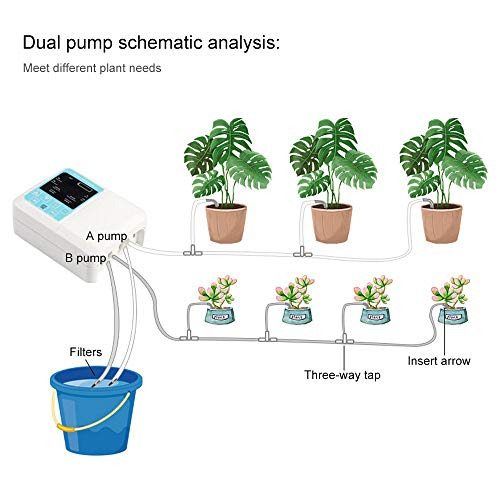 Smart Water Pump Solar Garden Automatic Watering Device Outdoor Plants Self Drip Irrigation Solar Energy Charging Timer System Potted Plant Drip Irrigation for Potted Plants Flower Vegetables