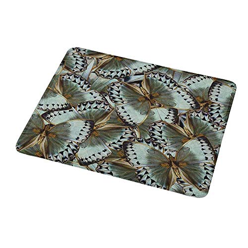 Gaming Mouse Pad Custom Exotic,Butterflies Jungle Queen Animal Spiritual Wings Nature Moth Transform Print,Almond Green Gold,Custom Non-Slip Mouse Mat 9.8
