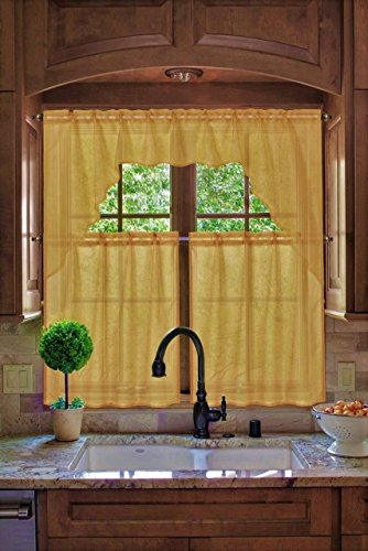 (GorgeousHomeLinen (#66) New Kitchen Collection 3pc Set Voile Sheer Kitchen Curtain Window Dressing in Solid Colors (YELLOW))