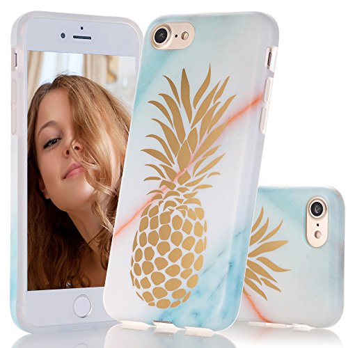 BAISRKE Teal Marble Case with Shiny Gold Pineapple Design Slim Black Bumper TPU Soft Rubber Silicone Cover Phone Case for iPhone 7 (2016) / iPhone 8 (2017) [4.7 inch]