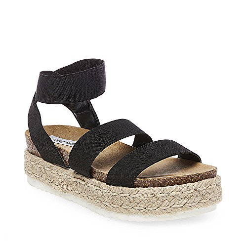 Steve Madden Women's Kimmie Wedge Sandal, Black, 7 M US