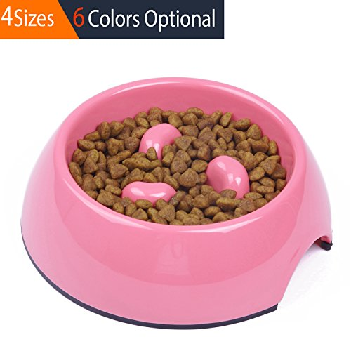 SUPER DESIGN Heavy Duty Melamine Non-skid Slow Feed Pet Bowl For Dogs and Cats S Pink