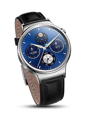 Huawei Watch W1 Classic leather [シルバー/ブラックレザーバンド]