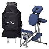 StrongLite Ergo Pro II Portable Massage Chair Package - Lightweight, Foldable Tattoo Spa Massage Chair with wheels (only 19lbs), Royal Blue