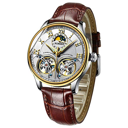 Men's Luxury Automatic Mechanical Wrist Watch with Double Tourbillon Leather (White)