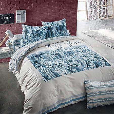 CotonFLOR New York Housse de Couette Coton Azur 140 x 200 cm