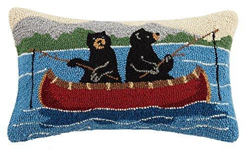 Peking Handicraft Bears on Canoe Hook Pillow Multicolored [並行輸入品] B07R6ZM9CM
