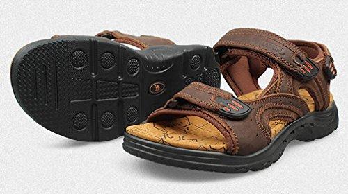 Junkai Mens Leather Sandals - Trekking Outdoor Summer Shoes ka18051602 Brown dw8iQxc