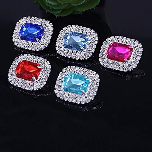 Maslin 10pcs/Set 20mm25mm Oval Flatback Rhinestone Buttons Wedding Invitation Card Dexoration Shiny Buckle - (Color: 17)