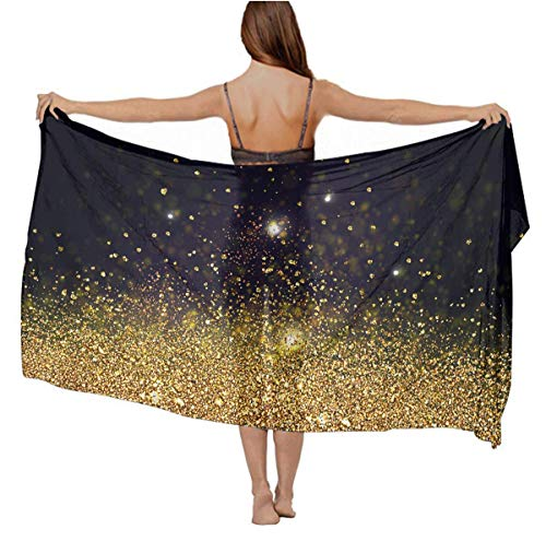 Black Background Necktie (Lightweight NEW Black And Gold Frosted Background Shawl and Wrap for Women)