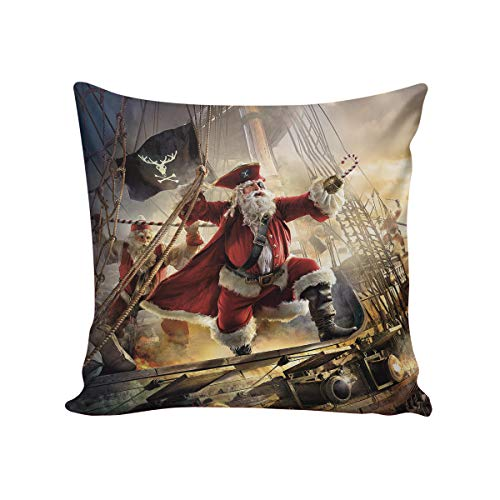 Comfortable Throw Pillow Cover for Bedding, Decorative Accent Cushion Sham Case for Couch Sofa, Soft Solid Satin with Zipper Hidden - 26x26 in, Retro Xmas Santa Claus Voyage Art Pirate Ship Design (Chicago Bears Santa Pillow)