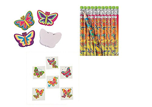 60 Pretty BUTTERFLY PARTY FAVORS - Birthday- 12 Pencils - 12 Mini NOTEPADS - 36 TATTOOS Butterflies - Girl PARTIES by (Butterfly Party Favors)