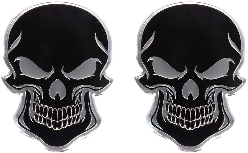 4pcs 3D Metal Emblem Badge Sticker Decal,Skull Red Eyes Auto Decor