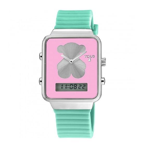 Reloj Tous digital I-Bear de acero con correa de silicona verde