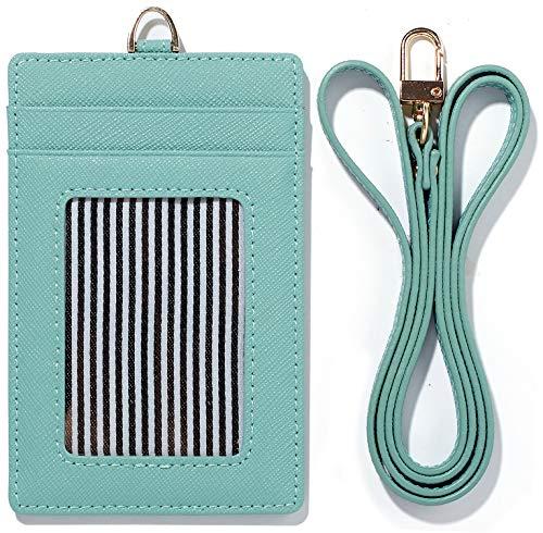 (Lanyard Wallet Women Genuine Leather ID Badge Holder Girls Neck Window Card Business Strap Purse Case (Sky blue))