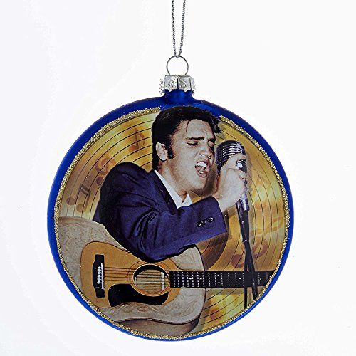 Kurt Adler 3.5-Inch Elvis Blue Suede Shoes Glass Disc Ornament