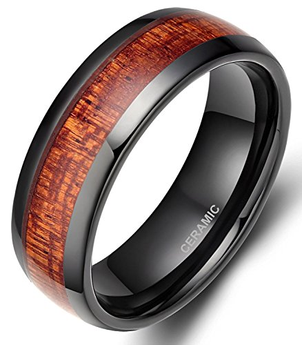 (SOMEN TUNGSTEN 8mm Black Ceramic Ring for Men with Wood Inlay Wedding Band Flat/Dome Style Size 6-14 (Black-Flat Style,)