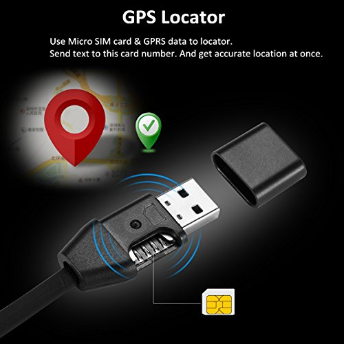 2 in 1 Spy GPS Tracker for Car and USB Charger Cable, Real Time Vehicle Tracking Device Support T Mobile GSM GPRS Card, No Monthly Fee for iPhone & Android Phone