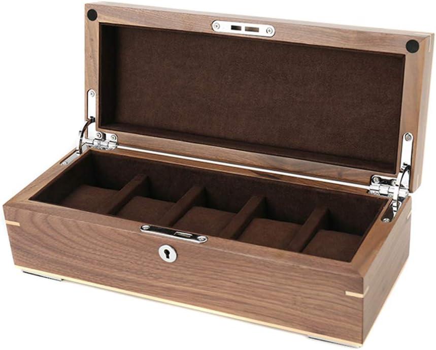 Caja de Relojes Estuche Caja De Reloj De Madera 5 Ranuras con Cerradura Accesorios De JoyeríA Caja De PresentacióN para Hombres/Mujeres Regalos - 30.5 × 12.5 × 10cm: Amazon.es: Hogar