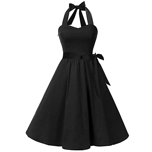 567dbb444 Women Plus Size Dress 1950s Vintage Halter Neck Bowknot Solid Rockabilly Swing  Dress Retro Cocktail Party