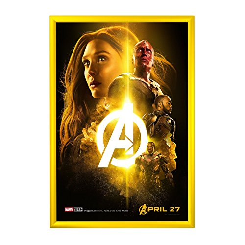 "SnapeZo Movie Poster Frame 24x36 Inches, Yellow 1.2"" Aluminu"