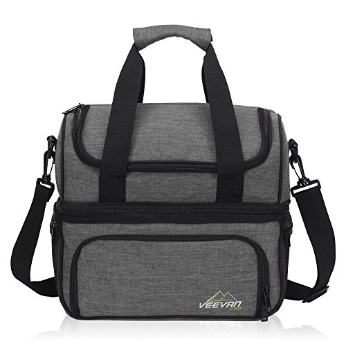 - Veevanpro Insulated Picnic Bag for 2 Cooler Bag Outdoor Food Storage with Tableware & Cutlery Grey