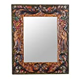 NOVICA Animal Themed Wood Wall Mounted Mirror, Multicolor 'Luminous Rebirth'