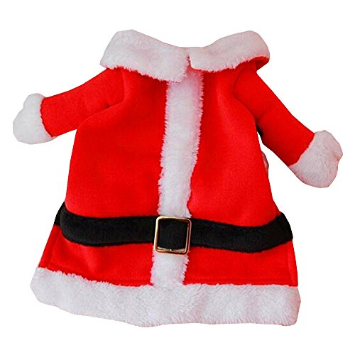 Bolbove Pet Christmas Santa Claus Suit Costume for Small Dogs Cats Jumpsuit Winter Coat Warm Clothes (Red, X-Small)