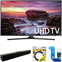 Samsung Flat 39.9 LED 4K UHD 6 Series Smart TV 2017 Model (UN40MU6290) with Solo X3 Bluetooth Home Theater Sound Bar, 6ft HDMI Cable Black & Universal Screen Cleaner for LED TVs Large Bottle