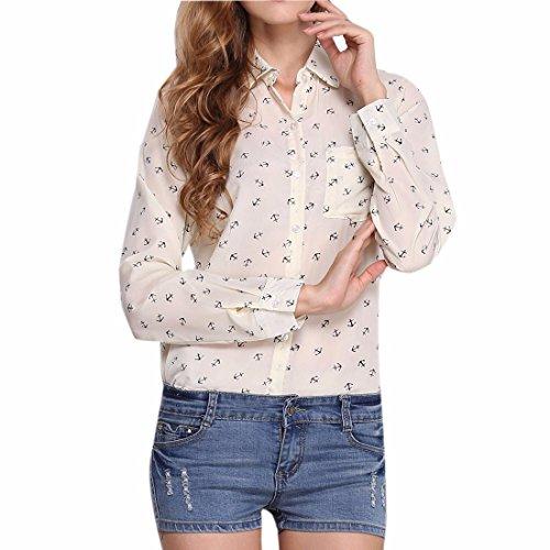 Gasa De La Manera Las Mujeres Impresas Manga Larga Camisetas Ol Cuello De Solapa De Base Camisetas De Color De Crema