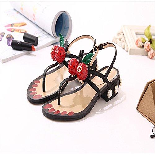 LIVY 2017 nuevas sandalias del verano mujeres de las sandalias planas de cereza perla de la moda estudiante de concha con salvaje gruesa Negro