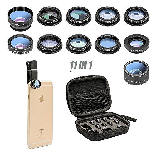 11 in 1 Cell Phone Camera Lens Kit Wide Angle Lens & Macro Lens+Fisheye Lens+Telephoto Lens+CPL/Flow/Radial/Star/Soft Filter+Kaleidoscope Lens Compatible iPhone Samsung Sony Most Smartphone