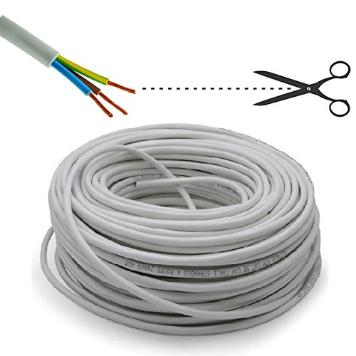 Electraline 31168 100 m Coil of Electrical Cable for Extension H05VV-F 3G1,5 mm2, Cable per Metre - White