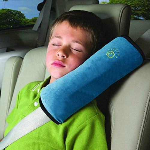 Blue Seat Belt Pillow For Kids, Baby Seatbelt Pillow, Carseat Pillow Protector For Toddler Travel, Car Sleeping Head Support For Adults, Seatbelt Strap Covers With Seat Belt Adjuster For Child Infant