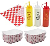 hot dog vendor tray - 25 Food Serving Deli Trays Ketchup Mustard & Mayo Squeeze Bottles Condiments + 50 Deli Wrappers outdoor picnic party BBQ fun pack sandwich papers
