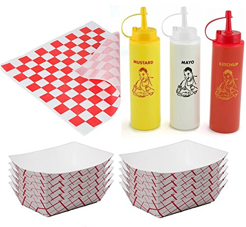 25 Food Serving Deli Trays Ketchup Mustard & Mayo Squeeze Bottles Condiments + 50 Deli Wrappers outdoor picnic party BBQ fun pack sandwich papers