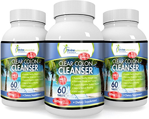 Clear Colon Cleanser - 500mg Natural Colon Cleansing Blend (3Pack) Fiber-Rich Herbs and Probiotics. Mild Laxative Soothes the Digestive System while Gently Eliminating Waste Colon Detox Formula (Cleansing Digestive System)