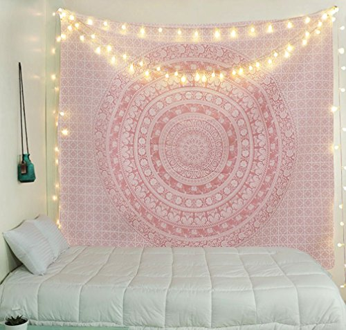 (Tapestry Wall Tapestry Wall Hanging Tapestries Sparkly Pink Rose Gold Ombre Mandala Tapestry Large Indian Mandala Wall Hanging Bohemian Hippie Bedspread Wall Art)