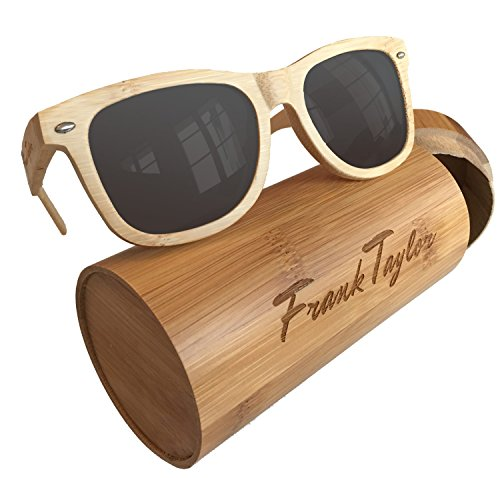 Wooden Sunglasses by Frank Taylor - Natural Bamboo - Handmade - 1 Year Warranty - Polarized 100% - On Repair Sunglasses Scratches