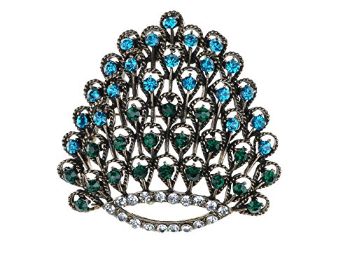 - Alilang Beautiful Elegant Colorful Crystal Rhinestone Peacock Feather Detail Pin Brooch