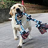 AOSOME 36 inch Dog Rope Toys for Strong Large Dogs Extra Large Size Cotton Fibers Dog Chew Toy 5 Knots Rope Tug for Aggressive Chewers Interactive Rope Chew Toys for Large Dog Breeds