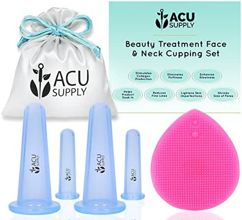 Face and Eye Cupping Massage Kit With Guidance by Therapist | Anti-Aging Face Lift Sessions That Works for Fine Lines, Wrinkles, Improves Collagen and Lymphatic Drainage by ACU Supply (Clear Blue)