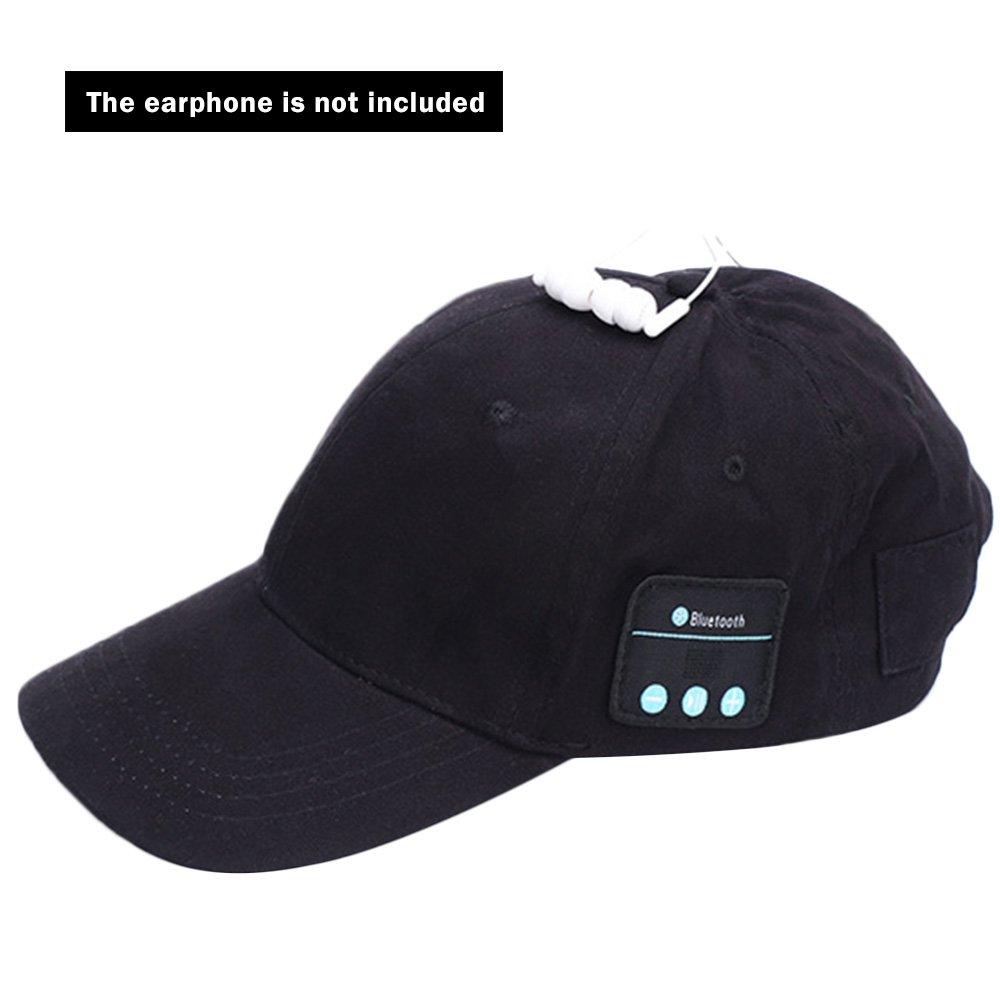 Black KingNew Wireless Bluetooth Sports Baseball Cap with Wireless Earphone Adjustable Velcro Cap Music Speaker Mic Cap for Men and Women